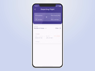 Qatar Airways - Book a flight payment mobile app transportation animation ui product design ux animation protopie ios app figma