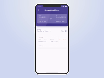 Qatar Airways - Book a flight payment mobile app transportation animation ui product design ux animation protopie ios app figma