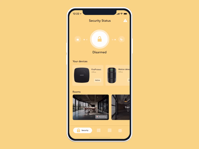 AJAX systems - concept prototype iot smarthome smart home security surveillance mobile app figma ios app iphone x ux animation animation product design app ui