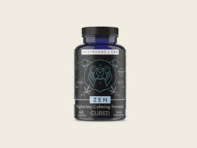 Cured Zen design adaptogens cbd organic color study illustration geometric branding inspiration digital drawing color packaging supplements
