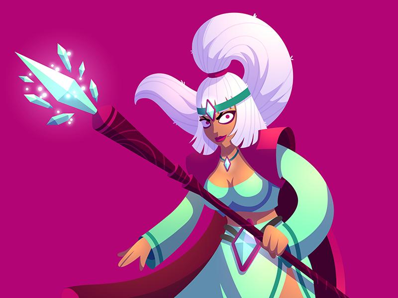 Battleplans Priestess illustration game cartoon design character art vector