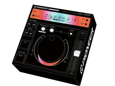 PIONEER CDJ–500S digital 1990s 1990 vintage pioneer cdj music dj design figma design vector illustration art illustrator illustration art