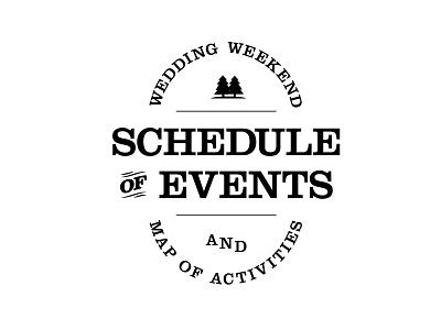 Schedule of Events lock-up clarendon typography map wedding