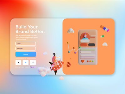 Daily UI #1 - Sign Up Page web daily ui 100 days of ui glass morphism digital design graphic design interface design web design ui design ui