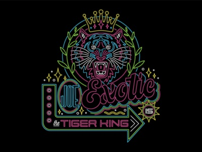 Tiger King Neon cmyk bright linework line art joe exotic tiger king animal tiger neon sign neon badge lettering art lettering vector illustration