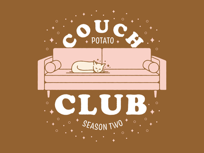 Couch Potato Club home living room couch kitten cat cozy covid19 covid lettering art illustration vector
