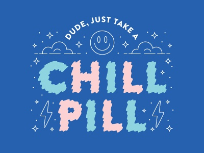 Chill Pill icons line icon line bright lettering art lettering design vector procreate illustration flat