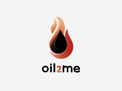 Oil 2 Me Logo Concept 1 gradient delivery liquid drop black fire flame heat logo oil