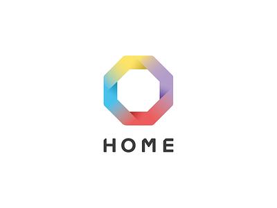Home octagon gradient geometric branding logo app