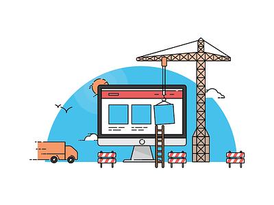Under Construction vector clouds zone crane sun truck construction under page web