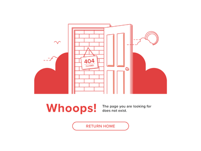 404  illustration website bird bush landscape clouds brick door page 404