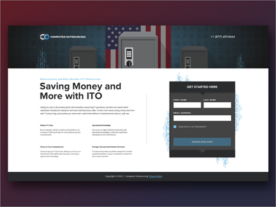 CO Outsourcing Landing Page outsourcing american america safe money illustration advertisement ad page web design web