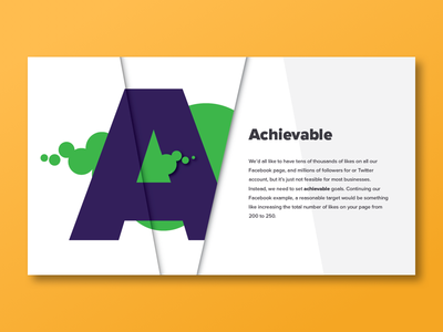 A is for Achievable  digital fold line circle bubbles purple green type spread slide typography a