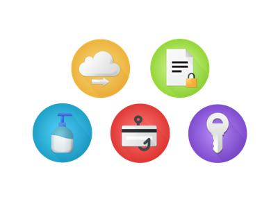 Security Icon Set data phishing soap credit card gradient icon security key lock padlock cloud
