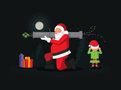 Happy Holidays trees blast launcher rocket shoot present santa elf moon card christmas