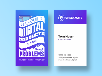 Checkmate Cards Redesign gradient stars sun mountains desktop mobile phone computer checkmate cards business cards