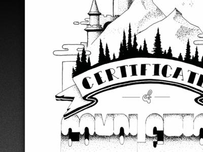 Intern Certificate castle illustration intern certificate trees mountain stippling ink pen