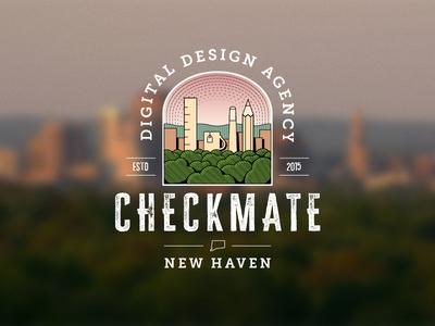 Logo Crest Design - Checkmate, New Haven Connecticut logo design checkmate connecticut pencil pool coffee agency trees skyline city new haven landscape badge crest logo