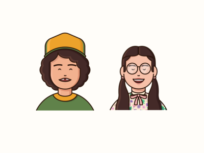Dustin and Suzie girlfriend couple boy girl guy face pattern hat simple portrait icon pack icons netflix stranger things