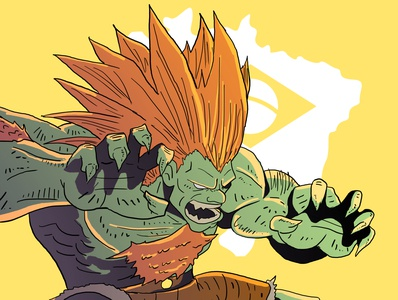 Blanka street fighter blanka streetfighter muslim pakistan animation vector illustration flat design