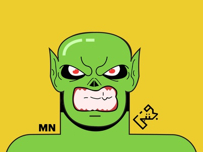 Goblin pakistani ugly red eyes teeth monster goblin slime green yellow pakistan animation vector flat illustration design