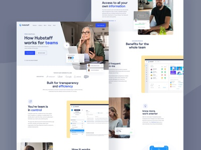 Hubstaff page product landing landing page web design homepage sketch website ux ui