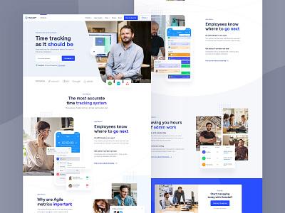 Hubstaff page design integration video app ux ui sketch web design website homepage landing page