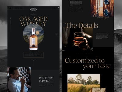 Designer Dram product page product sketch landing page homepage web design ux ui alcohol whiskey