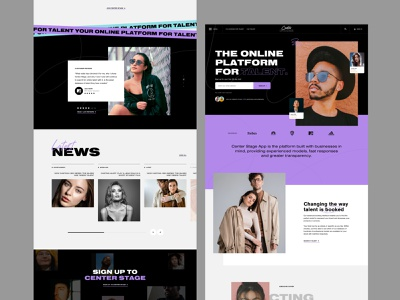 Talent agency website ui ux typography sketch homepage landing page web design website