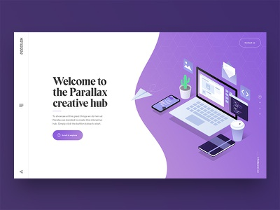 Landing page navigation buttons purple homepage isometric illustration ux ui website landing page