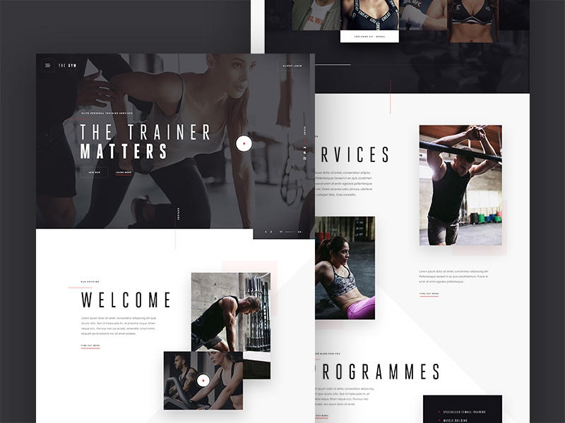 Gym landing page concept design typography hero navigation homepage landing page website ux ui exercise gym