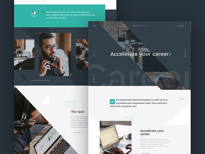 Careers landing page home page diagonal triangles navigation design ux ui website landing page careers jobs