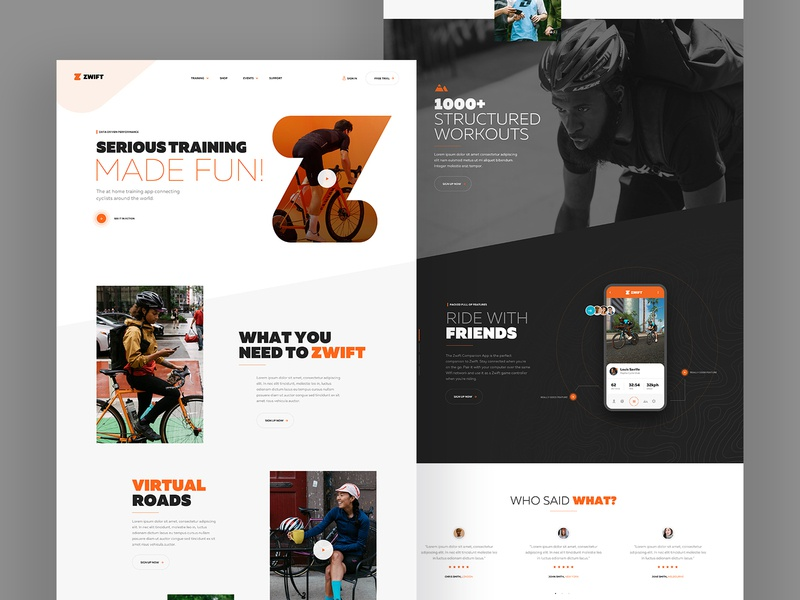 Landing page concept web design sketch ux ui landing page typography outdoor homepage bike cycling concept