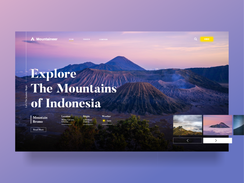 Mountaineer unique cool hiking trip mountain indonesian ui ui  ux design ui dashboard adobe xd adventure