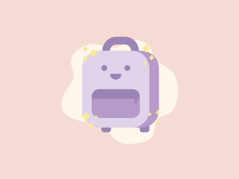 Backpack flat bag rucksack backpack illustration
