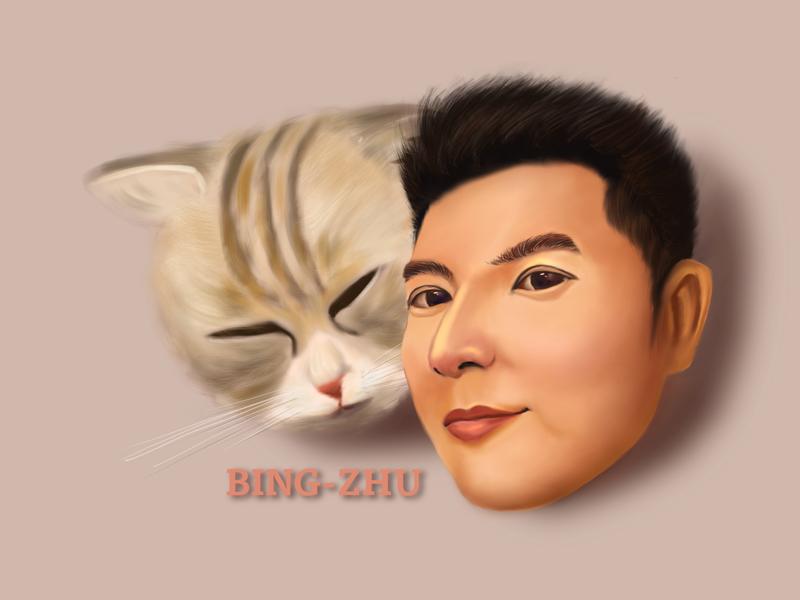 Portrait illustration boy cat ipad procreate painting design illustration portrait