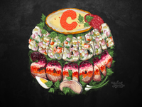 New year hand drawn food lettering illustration.