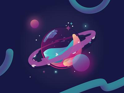 Fluid Planet waves fluids water universe sun space design icon planets ui illustration gradient colors