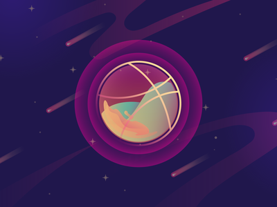 Welcoming Dribbble vector logo sun app website web design ux minimal waves water ui universe space design planets illustration icon gradient fluids colors