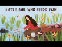 喂鱼的小女孩