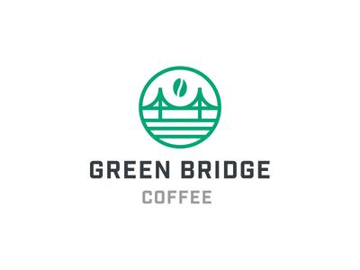 Green Bridge Coffee minimal icon bridge logo coffee logo bridge branding clean logo coffee