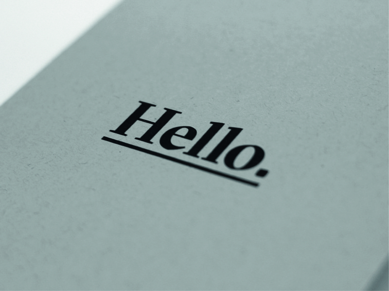 Hello. texture simple editorial design brochure design printed paper grey underline bold typography cover design cover book print collateral