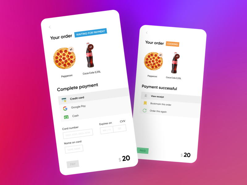 Credit Card Checkout / DailyUI #002 dailyui design interface modern ui ux flat typography vector app branding minimal android android app dribble food pizza order payment payment form