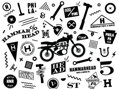 Hammarhead icons illustration motorcycle club type tools hammarhead moto bikes oil leaf gears flag spring