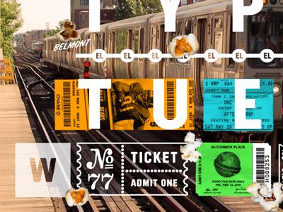 Trains collage chicago fun type neon popcorn l