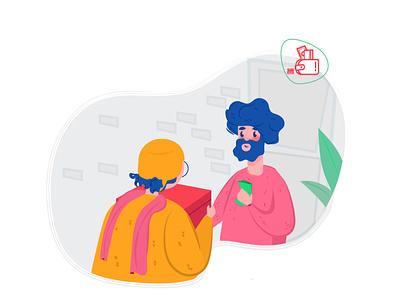 Intro App design money store app shop post mailer postman mobile app design mobile design mobile app mobile application app design mobile ui vector ui illustrator illustration design 2d character