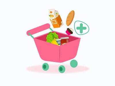 Add to cart design supermarket market food store shop mobile app design mobile design mobile ui art add to cart characterdesign app app design ui vector illustrator design illustration 2d character