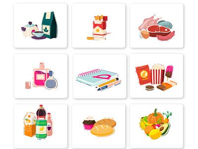 Food Category category drink junk food milk vegetable fruit color soda bread smoke design app app design application mobile ui illustrator ui 2d illustration vector