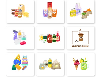 Food Category spaghetti ice cream conserve toy food and drink application categories category app category page mobile app design mobile ui illustrator 2d category app design ui app design illustration vector
