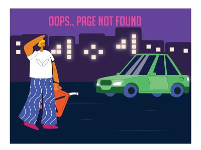 404 Error error page error 404 car characterdesign app design illustrator vector ui character 2d illustration